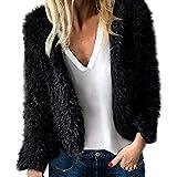 KUDICO Damen Casual Manteljacke Künstliche Wolle weiche Winter warme Lapel Parka Oberbekleidung Overcoat Cardigan(Schwarz, EU-34/CN-S)