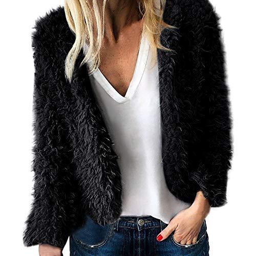 TianWlio Mäntel Frauen Weihnachten Damen Mantel Langarm Strickjacke Jacke Outwear Herbst Winter Jacke Revers Winter Oberbekleidung Warme Künstliche Wollmantel