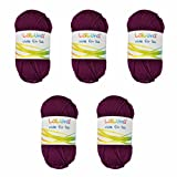 5er Pack Filz Wolle brombeer 100% Schurwolle 250g, Wolle zum Stricken und Filzen Marke: LaLuna®