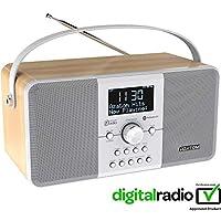 AZATOM Multiplex DAB Digital FM Radio Bluetooth Battery Alarm Clock - Bluetooth - Stereo Speaker System - Dual Alarm - Clock Radio - Rechargable Battery - USB Charging - Premium Stereo Sound (Oak)
