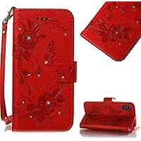 CESTOR Magnetverschluss Flip hülle für iPhone X,Luxus [3D Diamant Prägung Schmetterling Blumen] Handschlaufe Brieftasche... preisvergleich bei billige-tabletten.eu