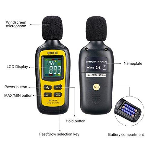 URCERI Schallpegelmessgerät - Digital Sound Level Meter Lärm-/ db-Messgerät mit Messbereich 35dB - 135dB, Max / Min / Haltedaten, Temperaturmesser und LCD-Display, inkl. Batterie - 3