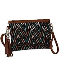 """SIX """"Trend"""" kleine bunt braune Umhängetasche Damen Handtasche mit Zacken-Muster, schwarz, petrol grün, orange (463-121)"""