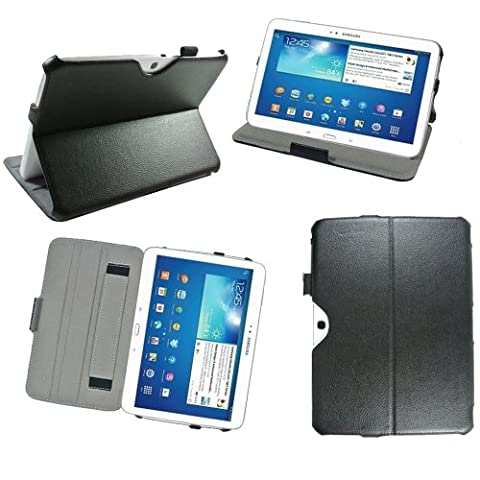 Ultra Slim Tasche Leder Samsung Galaxy Tab 3 10.1 P5200 / P5210 / P5220 16 Go (Wifi/3G/4G) Hülle schwarz Cover mit Stand - Zubehör Etui Tablet PC Samsung Galaxy Tab 3 10.1 zoll GT-P5200 / GT-P5210 / GT-P5220 Schutzhülle (PU Leder) - XEPTIO : Exceptional Case !