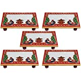 White Box Marble Puja Chowki Set Of 5 For Gift Item :- 6x4 Inch