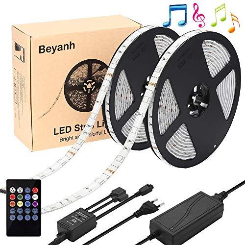 Beyanh LED Striscia RGB 10M Musica,LED Strip TV Retroilluminazione RGB Striscia ,IP65 Impermeabile 12V 6A Illuminazione con Memoria Funzione, Telecomando,Nastri Led Flessibile/Accorciabile/Divisibile