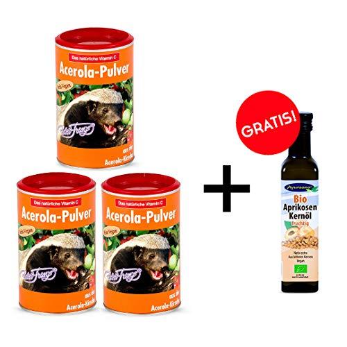 Robert Franz Acerola Pulver (3 x 175 g) und Ayursana Aprikosenkernöl geschenkt
