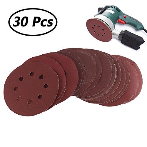 Preisvergleich Produktbild Agoky 30 Stück Schleifscheiben 125mm 5 Inch Klett-Schleifpapier 800/1000/1200/1500/2000 Jedes Modell 6X Exzenter-Schleifer 6 Loch