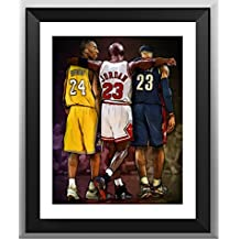 NBA Legendario - Kobe Bryant Y Michael Jordan Y Lebron James Memorial Album, Autógrafo Imprimir
