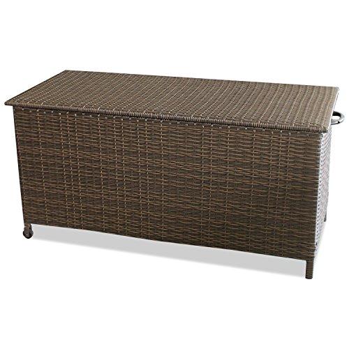Wohaga Gartenbox Auflagenbox Kissenbox Gartentruhe Aufbewahrungsbox Aufbewahrungskiste Kissentruhe - Rollbar, Gasdruckfeder, 134x56xH65cm, Poly Rattan, Braun