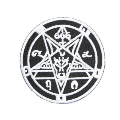 666 Demonic Pagan Goat Pentagram Black Metal Goth patches Embroidered iron/sew on Patch to Cloth, Jacket, Jean, Cap, T-shirt and Etc. /Size 7.8x7.8 cm by patch by holies pony