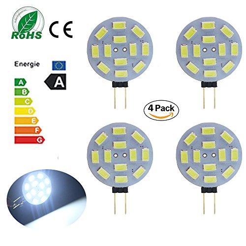 Ei-Home 5730-12 SMD G4 Lampen, 1.5W, AC / DC 10-30V RV Lichter, ersetzen Halogenlampe, G4 Spotlight zum Lesen, Landschaft, Schreibtischlampe, Kabinettbeleuchtung, Track Beleuchtung, weiß, Packung mit 4 (400 Möbel Akzent)