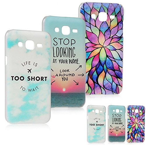 3 x custodia in plastica per samsung galaxy j5 - maxfe.co cover in plastica pc case cover protezione chiusura - design sea+petali colorati+blue sky
