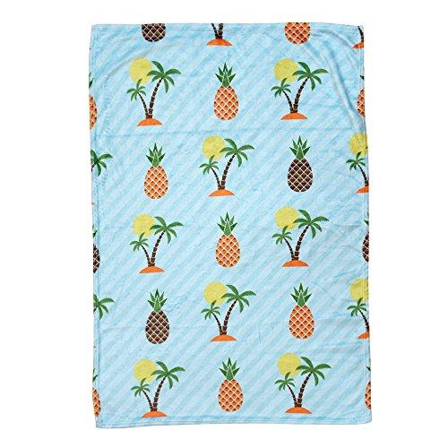 Andouy La trapunta sottile della trapunta della flanella dell'estate di ananas getta la coperta del condizionamento d'aria, Caldo Pile Letto Divano in Microfibra Coperta in Fleece di Corallo Morbido