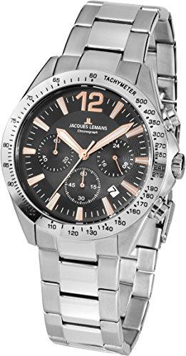 Jacques Lemans Herren Analog Quarz Uhr mit Edelstahl Armband 42-5F