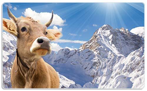 Frühstücksbrettchen aus Glas, Kuh im Sonnenschein in den Alpen, Größe 14 x 23 cm, aus Sicherheitsglas ()