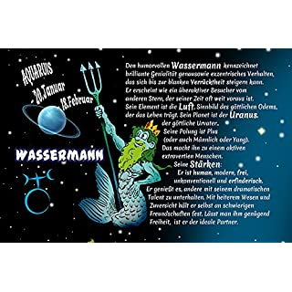 Wassermann aquarias Sternzeichen Tierkreis. lustig Schild aus Blech, Metal Sign, tin Comic