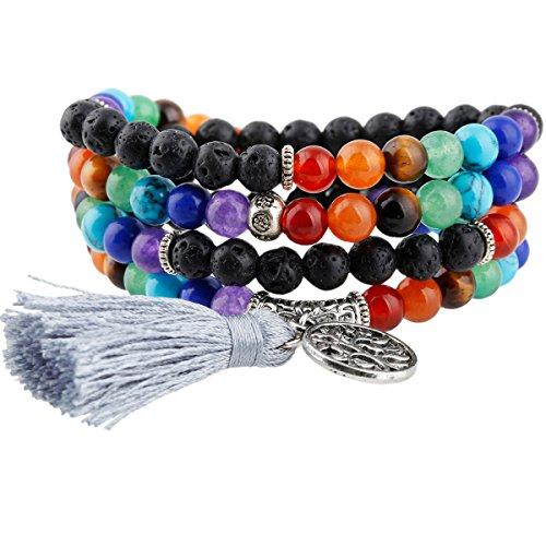 Shanxing 108 Perlen Edelstein Yoga Armband Schmuck Buddha Buddhistische Tibetische Gebetskette Mala Kette Halskette,7 Chakra & Lava Rock Stein