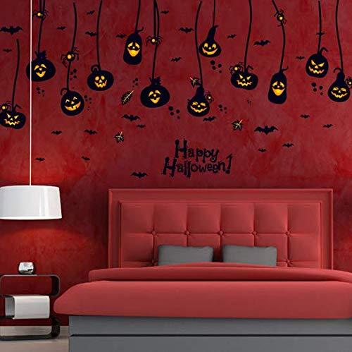 Newberli felice halloween appeso zucche pipistrelli ragni wall sticker cartoon porta finestra sfondo adesivi murali casa di halloween
