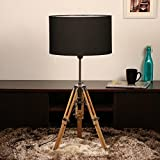 Standing Light Floor Lamp Wooden Tripod/Sheesham Wood/Cotton Shade/Home Decor Item For Living Room/Bedroom/ Hall/ Cafe/ Kitchen/(Black Drum Shape Cotton Shade) - 2.75 Foot (Equals to 33 Inches)- by by Cocovey Homes