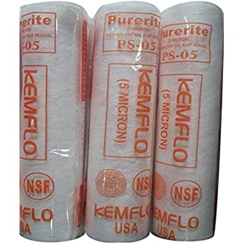 Kemflo Purerite Ps-05 Usa Spun Filter / Pre Filter Cartridge - Better Purification - 5 Micron - Pack Of 3