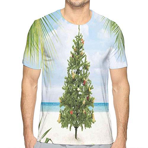 3D gedruckte T-Shirts, Baum mit Lametta und Verzierungs-Tropeninsel-Sandy Beach Party Theme -