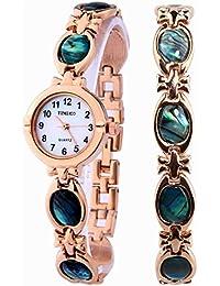 Time100 W50130L.02A Reloj pulsera de joya concha para mujer, estilo de moda, correa de joyería de color oro rosa