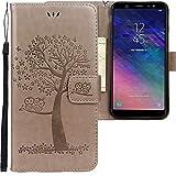 CLM-Tech kompatibel mit Samsung Galaxy A6 2018 Hülle, PU Leder-Tasche Schutzhülle mit Stand, Kartenfächern, Flip-Cover Lederhülle, Baum Eule grau