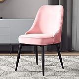 Sedie Sedia da Pranzo, Moderno Accento Inerme Comodo Sedile Imbottito Living Kitchen Pub Bistrot ZX Casa Poltrone (Color : Pink, Size : Black Legs)