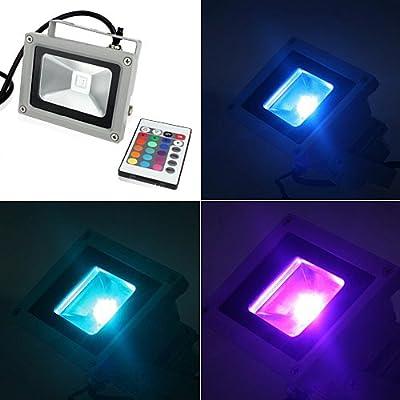 hootoo 10W LED RGB multicolor Scheinwerfer Fluter Strahler Außenstrahler Flutlicht Licht wasserdicht über 60,000 Stunden Lebensdauer mit Memory funktion
