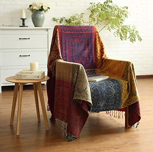 Chenille Sofa Handtuch Sofa Bezug Handtuch Sofa Decke Schal Decke Klimaanlage Mittagspause Decke Reisedecke Bettdecke Tibet Rot 220 * 250cm -