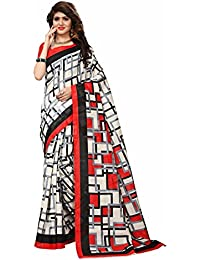 Floral Trendz Women's Bhagalpuri Silk Printed Saree With Blouse Piece.(Bhagalpuri 741_White_Free Size)