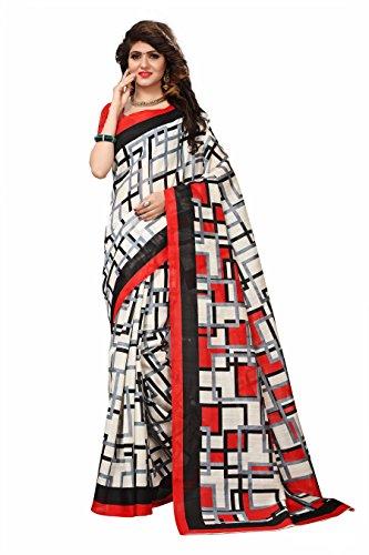 Floral Trendz Women's Bhagalpuri Silk Printed Saree With Blouse Piece.(Bhagalpuri 741_White_Free Size)