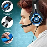 BlueFire Upgraded 3.5mm Universal LED Light Gaming Headset Bass Stereo Over-ear Headphone with Microphone for PS4 / Xbox One S / Xbox One / Nintendo Switch / PC / Computer / Phones (Blue in Black)