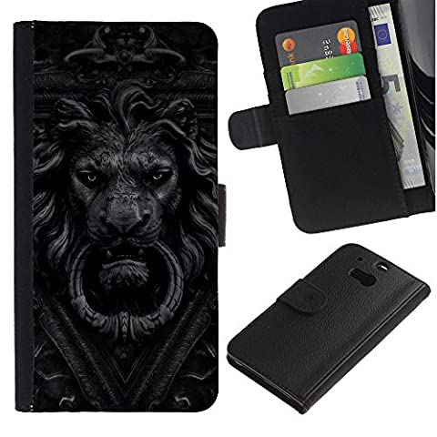 All Phone Most Case / Offre Spéciale Cuir Portefeuille Étui de protection Housse Coque / Leather Wallet Case for HTC One M8 // Doorbell Lion Grey Black White Doorknob
