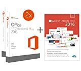 Original Microsoft 2PC – Office 2016 PRO (Professional Plus) - 2 Lizenzschlüssel + Lizenza ISO CD / DVD für 32 und 64 bit Deutsch inklusive Workstation 2016 für Office