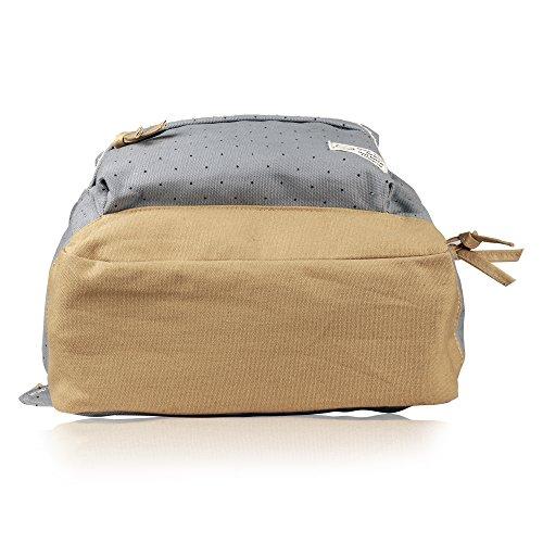 G2Plus Leichte Schulrucksack mit Polka Dots Nette Canvas Schultaschen Damen Mädchen EXTRA Groß Kinderrucksack Daypacks Rucksäcke Modische mit Laptop Fach 28 * 42 * 13 cm – Little Princess (Grau 1) - 4