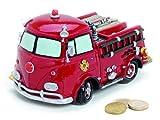Spardose Feuerwehr Auto aus Polystein 17x10x9 cm groß rot, Gelddose Sparbüchse verschließbar mit Gummipfropfen, Geschenk zur Geburt Taufe Geburtstag