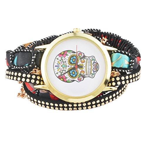 MJARTORIA Damen Skelett Motiv Armbanduhr Elegant Boho Indien Mode Design Damenuhr Analog Quarz Uhr Schwarz
