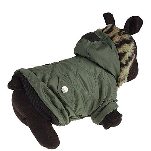 Mantel mit Kapuze für Hunde Warme Baumwolle Jacke Pet Mantel Hoodie Welpen Winter Warme Kleidung Haustier Kostüm(Grün,XXL)