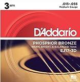 D\'Addario Cordes en bronze phosphoreux pour guitare acoustique D\'Addario EJ17-3D, Medium, 13-56, 3 jeux