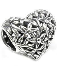 Queenberry Breloque en argent sterling 925 MotifArbre Amour Fleur Cœur Breloque pour bracelets européens de type Pandora/Troll/Chamilia/Biagi