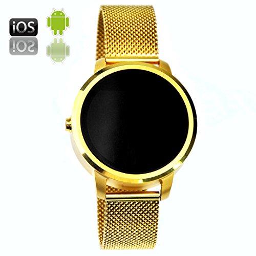 RapKaYoooy Herren Wasserdicht Fitness Uhr Bluetooth Smart Bänder Fernbedienung Foto Sitzende Erinnerung Schlaferkennung Apple Andrews Voll Kompatibel Gold