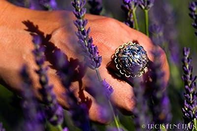 Bague de Lavande - Bijou de fleurs naturelles séchées - Bague ajustable boho vintage nature botanique - Cadeau Saint Valentin