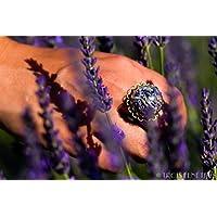 Anillo de lavanda - Joya con flores secas naturales - Anillo ajustable boho vintage botánico - 20mm - Regalo Día de la Madre - Cumpleaños