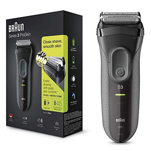 Braun Series 3 ProSkin 3000s - Afeitadora eléctrica para hombre, máquina de afeitar barba inalámbrica y recargable, color negro