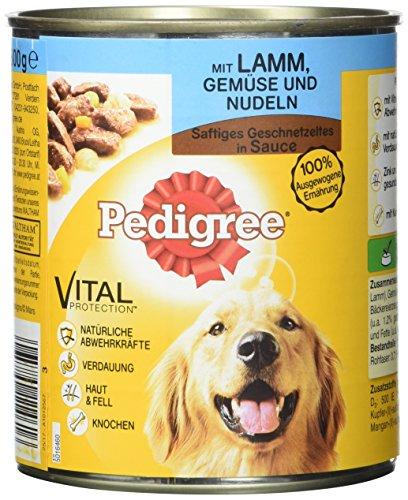 Pedigree Adult Hundefutter Lamm, Gemüse und Nudeln - Saftiges Geschnetzeltes, 12 Dosen (12 x 800 g) - Nudeln Machen