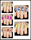 Dalin 5 Packs Full Nail Flowers Mixed Design Nail Water Art Slide Tattoo Decals Stickers Nail Decoration, 10 Stickers One Pack