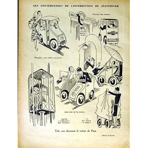 Impresión Antigua de la Historieta de la Comedia del Coche de Motor de la Revista del Humor de Le Rire French