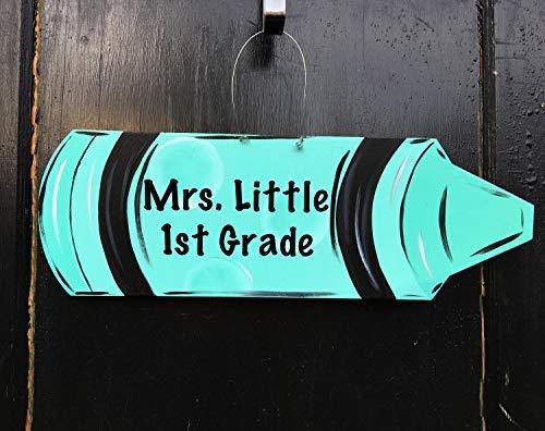 Zhaoshoping Crayon Tür-Aufhänger für die Schule, personalisierter Klassenzimmer, Tür-Aufhänger, Lehrer, Geschenk, Lehrer, Türschild, Türschild, Holzschild, für Zuhause, Dekoration, Zitat, Gartenschild